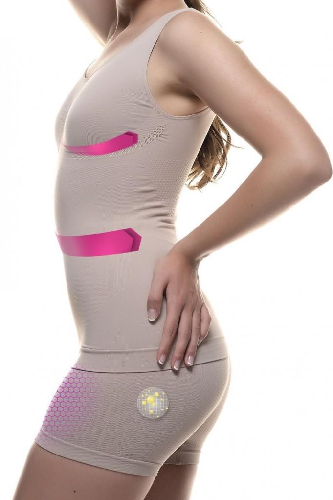 Camiseta y shorty con Micro-masaje y fibra emana .