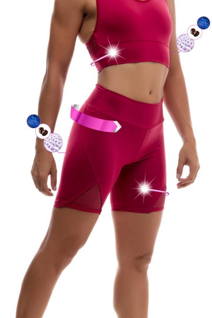 Short &top red para yoga-crossfit con fibra inteligente YMax EKA